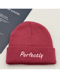 Fashion Brick Red Knitted Letter Embroidery Woolen Hat
