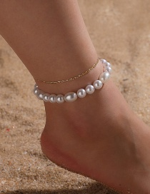 Fashion White Pearl Beaded Thin Chain Alloy Multilayer Anklet