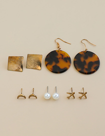 Fashion Golden Alloy Resin Earring Set