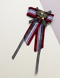 Fashion Red Fabric Bee Lace And Fringed Bow Tie Brooch