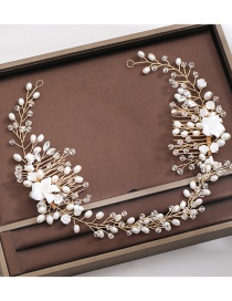 Fashion White Handmade Pearl Flower Crystal Beaded Alloy Headband