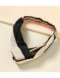 Fashion Black And White Striped Contrast Color Wide-edge Crossed Chiffon Print Headband