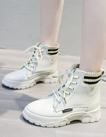 Fashion Beige Fleece Mid-heel Lace Stitching Ankle Boots