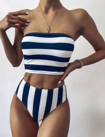 Fashion Black And White Stripes Striped Print Tube Top High Waist Split Swimsuit