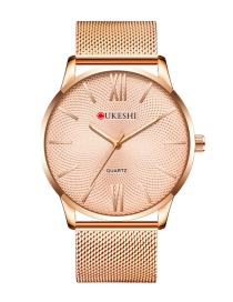 Fashion Rose Gold With Rose Gold Noodles Large Dial Ultra-thin Alloy Quartz Mens Watch