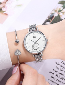 Fashion Silver Color With White Noodles Thin Strap Disc Bracelet Watch
