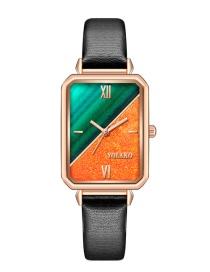 Fashion Green+orange Rectangle Contrasting Color Dial Pu Belt Quartz Watch