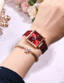 Fashion Red Square Dial Magnet Buckle Mesh Strap Watch