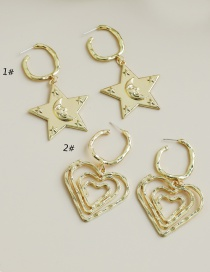 Fashion 1# Alloy Heart Five-pointed Star Earrings
