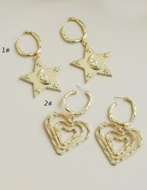 Pendientes De Estrella De Cinco Puntas Con Corazón De Aleación