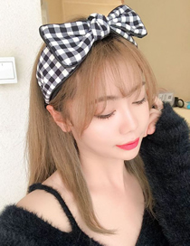 Fashion Checkered Houndstooth Square Big Bow Cloth Wide-brim Hair Rope