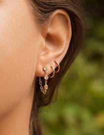 Fashion Gold Color Diamond Chain Geometric Alloy Earring Set