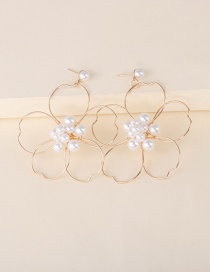 Fashion Gold Color Alloy Imitation Pearl Circle Flower Earrings