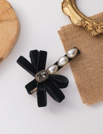 Fashion Black Gold Velvet With Diamond Butterfly Combined With Blonde Clip