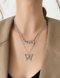 Fashion Silver Color Butterfly Alloy Hollow Multilayer Necklace