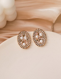 Fashion Gold Color Oval Pearl And Diamond Alloy Earrings