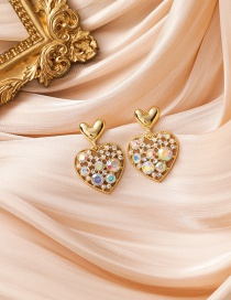 Fashion Gold Color Diamond Pearl Love Heart Alloy Hollow Earrings