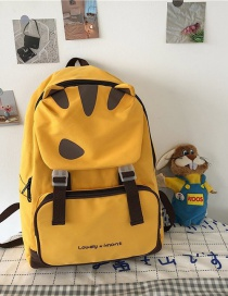 Fashion Yellow Without Pendant Cat Ears Printed Alphabet Backpack