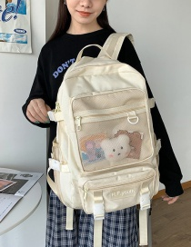 Fashion White Large-capacity Stitching Backpack With Mesh Letters