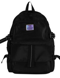 Fashion Black Large-capacity Letter Logo Stitching Contrast Color Backpack
