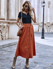 Fashion Brick Red Single-breasted Solid Color Pleated Skirt