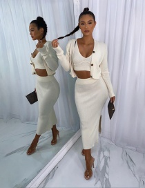 Fashion Creamy-white Single-breasted Jacket With Small Vest And Hip Skirt Suit