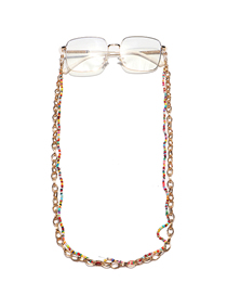 Fashion Color Double Layer Rice Bead Aluminum Chain Beaded Handmade Glasses Chain