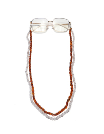 Fashion Brown Double Layer Acrylic Pearl Plastic Leopard Print Glasses Chain