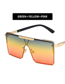 Fashion Green Yellow Powder Square One-piece Large Frame All-in-one Sunglasses