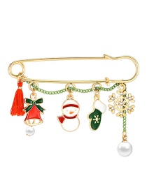 Fashion Color Christmas Dripping Snowman Bell Snowflake Pearl Brooch