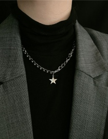 Fashion Silver Color Stainless Steel Five-pointed Star Letter Necklace