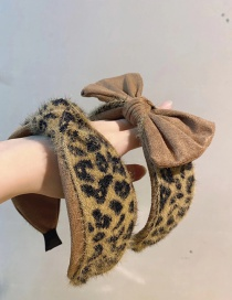 Fashion Brown Leopard Bow Bow-knot Leopard-print Knotted Wide-brimmed Headband