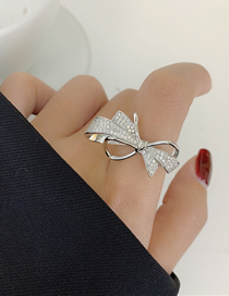 Fashion Silver Color Adjustable Ring With Bow Opening