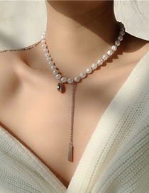 Fashion White Pearl Stitching Tassel Alloy Necklace