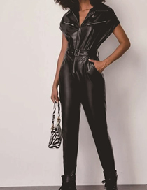 Fashion Black Slim Pu Jumpsuit With Belt And Lapel