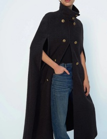 Fashion Black Double-breasted Stand-collar Solid Color Cape Coat