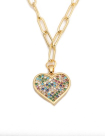 Fashion Love Micro-inlaid Zircon Heart Gold-plated Copper Necklace