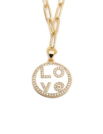 Fashion Letter Micro Inlaid Zircon Letter Cutout Necklace