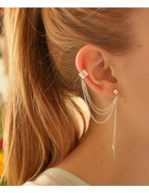 Fashion Long Silver Color Geometric Shape Alloy Hollow And No Pierced Ear Clip Set