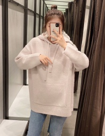 Fashion Pink Loose Knit Hooded Loose Coat