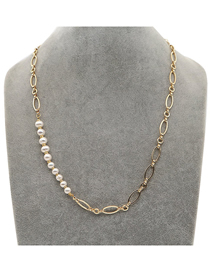 Fashion Gold Color Stainless Steel O-chain Pearl Hollow Necklace