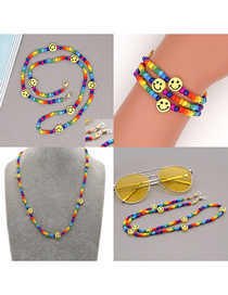 Fashion Color Mixing Rice Beads Beaded Smiley Face Non-slip Glasses Chain