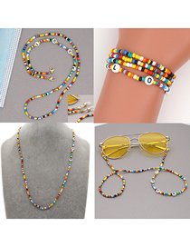 Fashion Color Mixing Rice Beads Handmade Beaded Letters Multifunctional Non-slip Glasses Chain