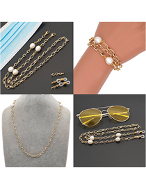 Fashion Gold Color Copper Gold-plated Large Gold Chain Pearl Non-slip Glasses Chain