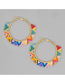 Fashion Color Mixing Rice Beads Hand-woven Geometric Contrast Earrings
