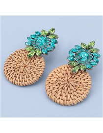 Fashion Green Alloy Diamond Round Rattan Woven Earrings