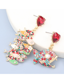 Fashion Red Color Alloy Oil Drop Diamond Piranha Asymmetric Earrings