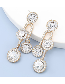 Fashion Gold Color Alloy Diamond Multilayer Round Earrings