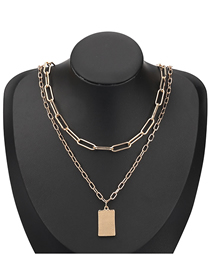 Fashion Gold Color Square Alloy Pendant Multi-layer Necklace