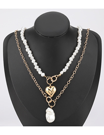 Fashion Two-piece Suit Love Imitation Pearl Geometric Alloy Necklace